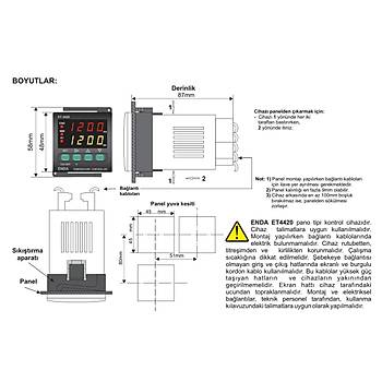 ET4420-230VAC 48x48mm Dijital Isý Kontrol Cihazý (Termostat) ENDA