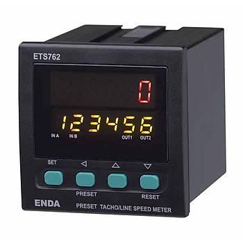 ETS762 230VAC 72x72mm Dijital Devir/Hýz Ölçüm Cihazý (Takometre) ENDA