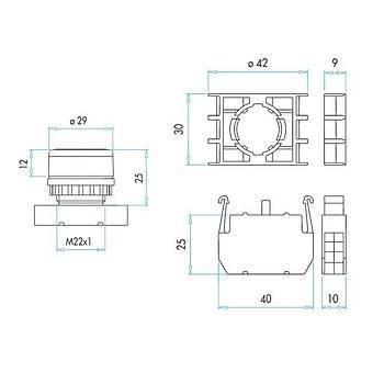 B200FK 22mm 1NK Kontaklý Kalýcý Stop Butonu (Kýrmýzý) EMAS