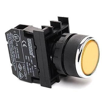 B100DS 22mm 1NA Kontaklý Yaylý Start Butonu (Sarý) EMAS