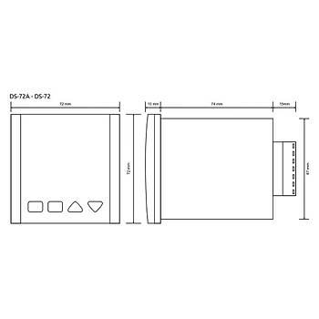 DS-72A 230VAC 72x72mm Ýleri/Geri Dijital Sayýcý (Counter) TENSE