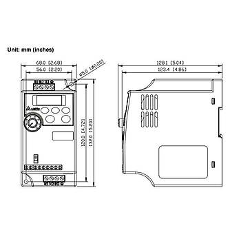 VFD004L21A 0,4 KW Tek Faz 220VAC Beslemeli Sürücü DELTA
