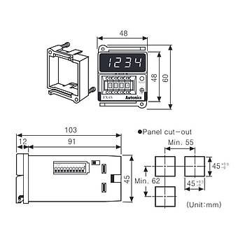FX4S 100...240VAC 48x48mm Analog Ayarlý Dijital Sayýcý (Counter) AUTONICS
