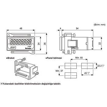 LA8N-BN 48x24mm 8 Haneli LCD Pilli Sayýcý (Sadece Gösterge) AUTONICS