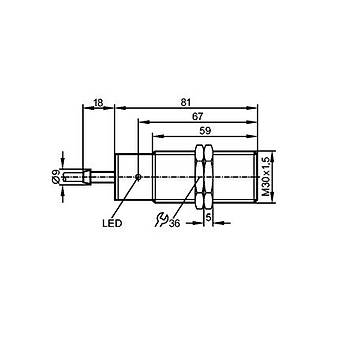 II-2015-BBOA (II0095) M30 NC 20...250V AC/DC 15mm Algýlamalý Ýndüktif Sensör IFM