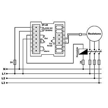 DT-48 Fonksiyonel 48x48mm Dijital PID Isý Kontrol Cihazý TENSE