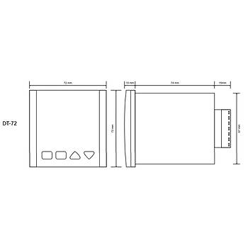 DT-72 Termokupl Tipi Seçilebilir 72x72mm Dijital PID Isý Kontrol Cihazý TENSE