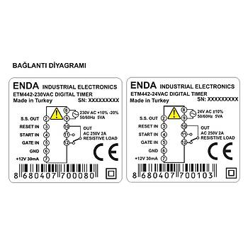 ETM442 230VAC 48x48mm Dijital Zaman Rölesi (Timer) ENDA