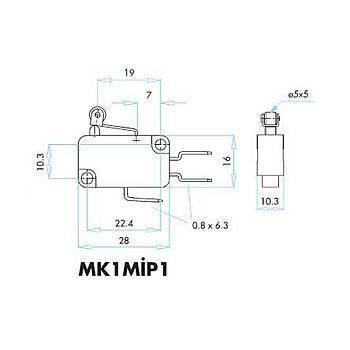 MK1MÝP1 Kýsa Kollu Plastik Makaralý Mikro Siviç EMAS