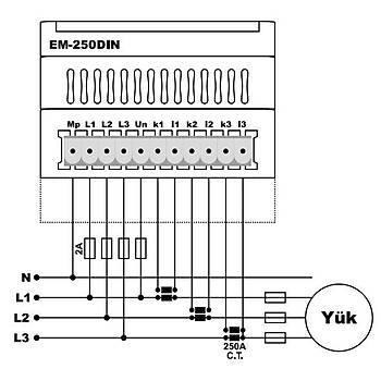 EM-250DIN 250A Multimetre (CT-300, Ray Tipi) TENSE