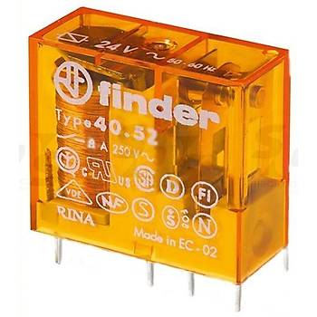 40.52 24VAC 8A 2CO (DPDT) Kontaklý PCB Röle FINDER
