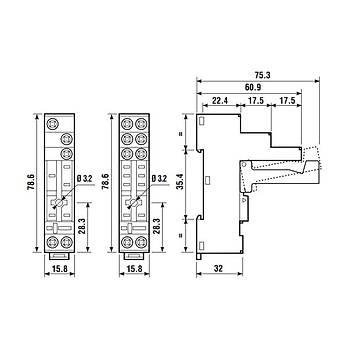 95.75.SMA 40 Serisi Röleler Ýçin 2CO (DPDT) Soket FINDER