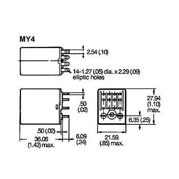 MY4IN 220/240VAC 5A 4CO (4PDT) Kontaklý Genel Amaçlý Röle OMRON