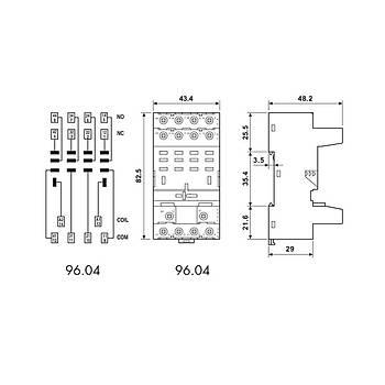 96.04 56 Serisi Röleler Ýçin 4CO (4PDT) Ray Tipi Soket FINDER