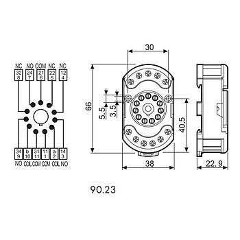 90.23 60.13 Serisi Röleler Ýçin 3CO (3PDT) 11 Pinli Ray Tipi Soket FINDER