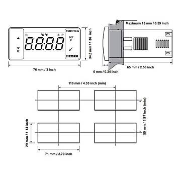 ESM-3710N PT-100 230VAC Termostat EMKO