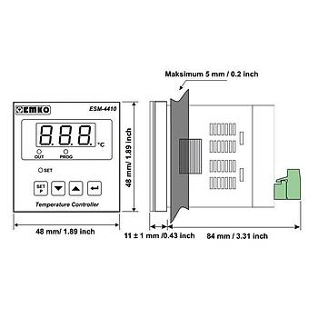 ESM-4410 J Tipi (Fe-CuNi) 0...800ºC 48x48mm 230VAC ON-OFF Termostat EMKO