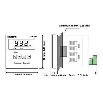 ESM-7710 J Tipi (Fe-CuNi) 0...800ºC 72x72mm 230VAC ON-OFF Termostat EMKO