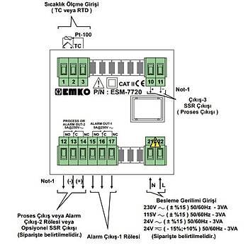 ESM-7720 J/K/R/S/T/PT100 Giriş Tipleri Seçilebilir 72x72mm 230VAC PID ON-OFF Termostat EMKO