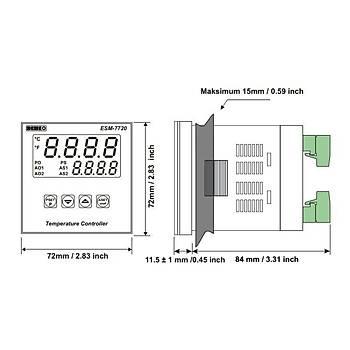 ESM-7720 J/K/R/S/T/PT100 Giriþ Tipleri Seçilebilir 72x72mm 230VAC PID ON-OFF Termostat EMKO
