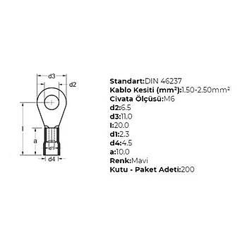 GYU-602 M6 Delikli 1,50-2,50mm² Kablo Pabucu (200 adet) GWEST