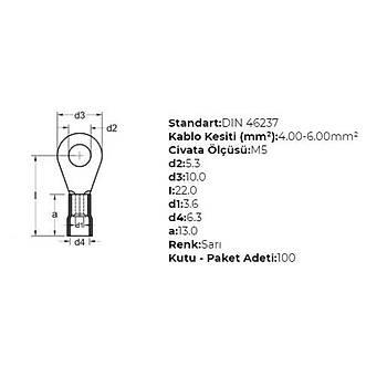 GYU-506 M5 Delikli 4-6mm² Kablo Pabucu (100 adet) GWEST