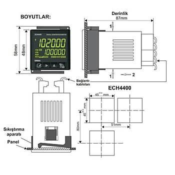 ECH4400-SM 9-30VDC / 7-24VAC Dijital Sayýcý ve Takometre ENDA