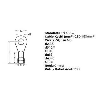 GYU-501 M5 Delikli 0,50-1,50mm² Kablo Pabucu (200 adet) GWEST
