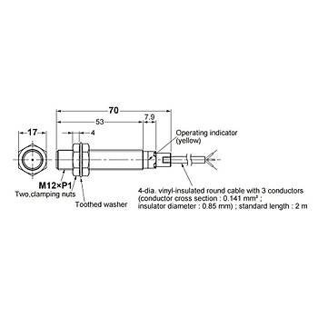 E2B-M12LS04-WP-C1 2M M12 NPN/NO 4mm Algýlama Ýndüktif Sensör OMRON