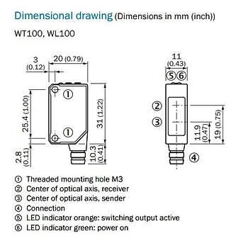 WL100-2P3439 7m Algýlamalý Reflektörlü M8 Konnektörlü Fotosel SICK
