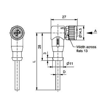 M12 4 Pinli 5m Kablolu 90 Derece Konnektör 43-10190 CONEC