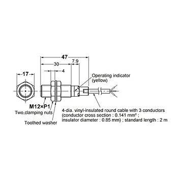 E2B-M12KS04-WP-C1 2M M12 NPN/NO 4mm Algýlama Ýndüktif Sensör OMRON