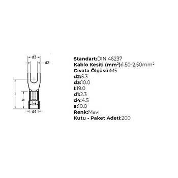 GÇU-5002 M5 Delikli 1,50-2,50mm² Kablo Pabucu (200 adet) GWEST
