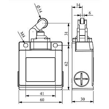 L53K13MÝP311 14mm Plastik Makaralý Limit Switch EMAS