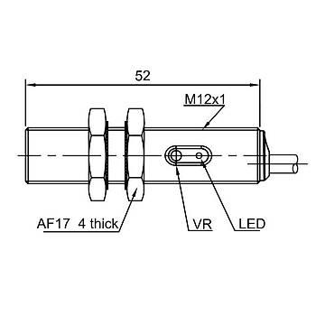 PR12T-BC15DPR M12 15cm Cisimden Yansýmalý IP67 Paslanmaz Metal Fotosel LANBAO
