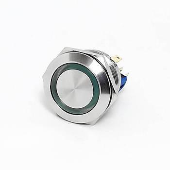22mm 6-24V Yeþil Iþýklý Yaylý Metal Buton IP67 J22-271-GD BUTTO