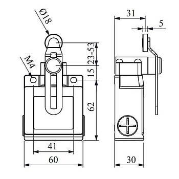 L53K13MEM124 18mm Metal Makaralý Ayarlanabilir Uzun Kollu Limit Switch EMAS