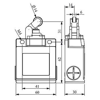 L53K13MÝM311 14mm Metal Makaralý Limit Switch EMAS