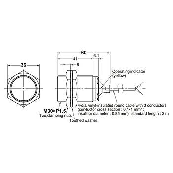 E2B-M30KS15-WP-C1 M30 NPN/NO 15mm Algılama İndüktif Sensör OMRON