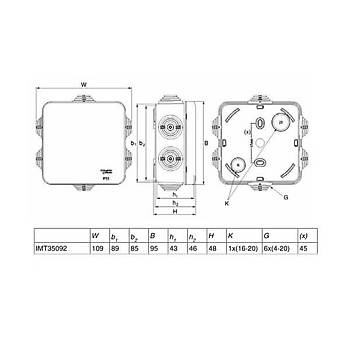 85x85x40mm IP55 Halogen-Free Buat IMT35092 SCHNEIDER
