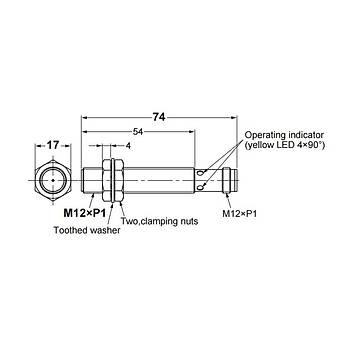 E2B-M12LS04-M1-C1 M12 NPN/NO 4mm Algýlama M12 Konnektörlü Ýndüktif Sensör OMRON