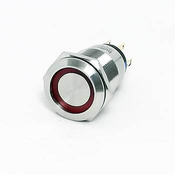 19mm 220V Kýrmýzý Iþýklý Kalýcý Metal Buton IP67 J19-372-RD2 BUTTO
