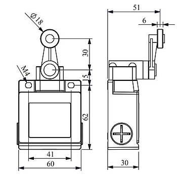 L53K13MEM121 18mm Metal Makaralý Döner Kollu Limit Switch EMAS