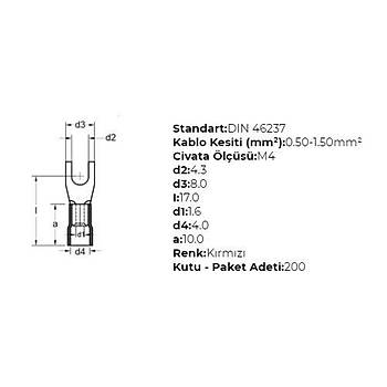 GÇU-4001 M4 Delikli 0,50-1,50mm² Kablo Pabucu (200 adet) GWEST