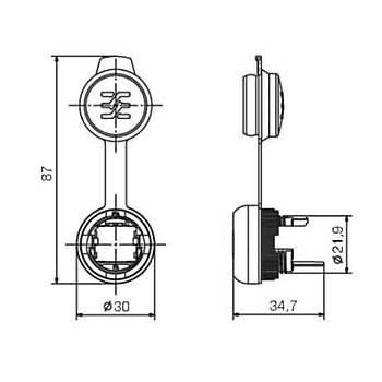USB 22mm Pano Tipi Kapaklý Konnektör IE-FCM-USB-A WEIDMUELLER