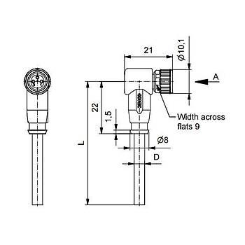 M8 3 Pinli 5m Kablolu 90 Derece Konnektör 42-10018 CONEC