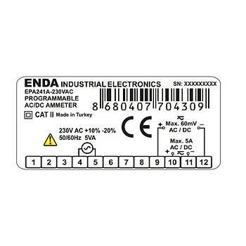 EPA241A-230VAC Dijital AC/DC Ampermetre ENDA