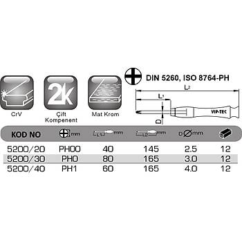 PH0x80mm Yýldýz Uçlu Mikro Tornavida VT 5200/30 VIP-TEC