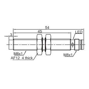 LR08TBN04DPOY-E1 M8 PNP/NO Konnektörlü Ýndüktif Sensör LANBAO