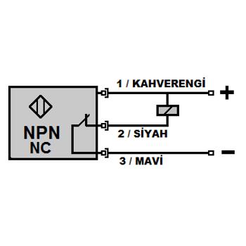 ÝF16-Y16-NK 16mm NPN/NC Titreþim Hisseden Ýp Koptu Sensörü MEFA